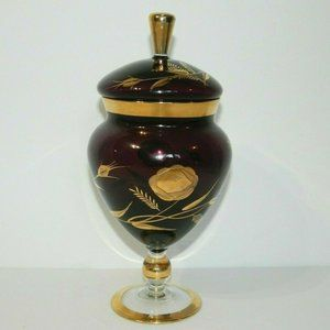 VTG Purple Gold Apothecary Jar candy Dish lidded